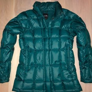 The North Face women's puffer jacket teal green XS